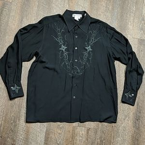 Embroidered Black Button Up Shirt Ross Graison